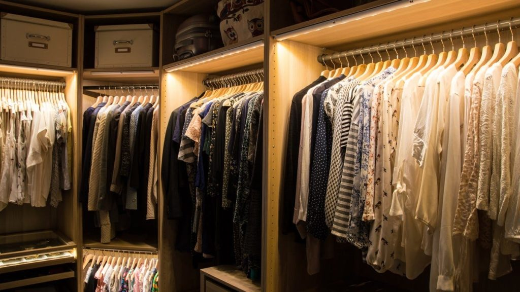 under cabinet lighting in closet for cinematic and warm feeling. calm lighting in closet