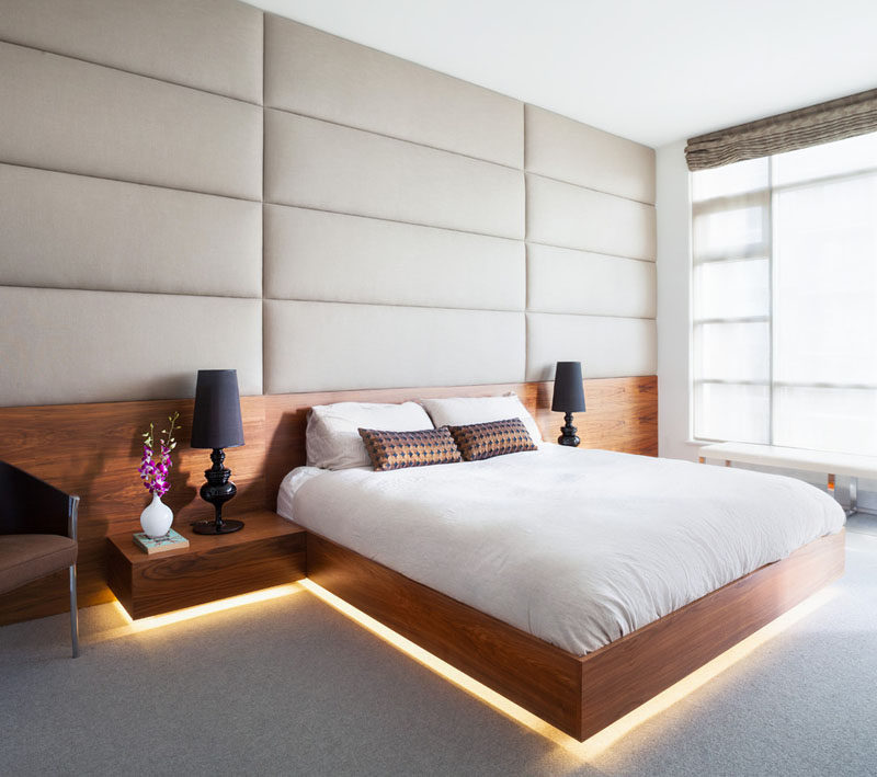 LED lighting strips used under the bed for decoration. cozy and warm feeling